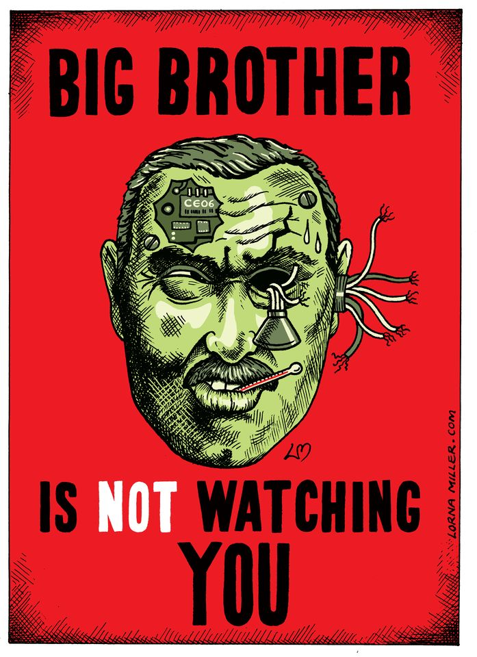 Big Brother is not watching you cartoon | Lorna Miller