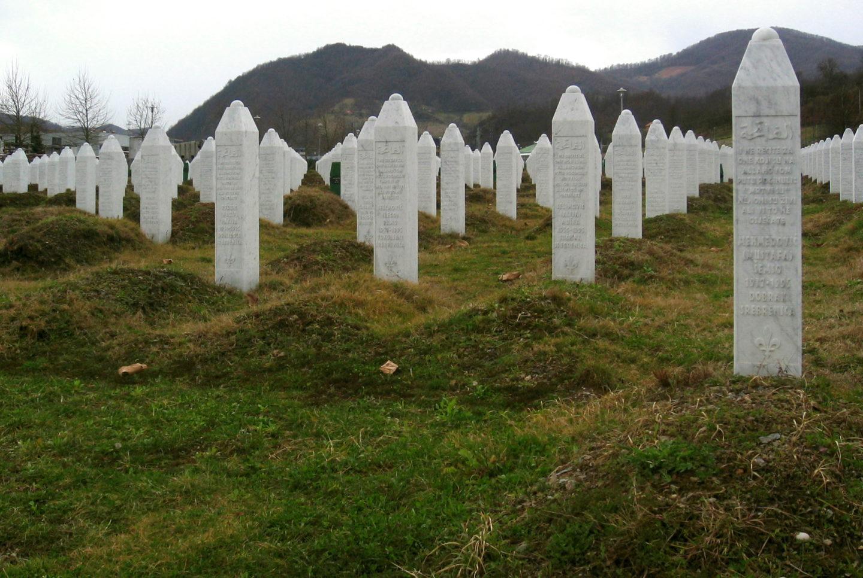 Srebrenica massacre memorial gravestones