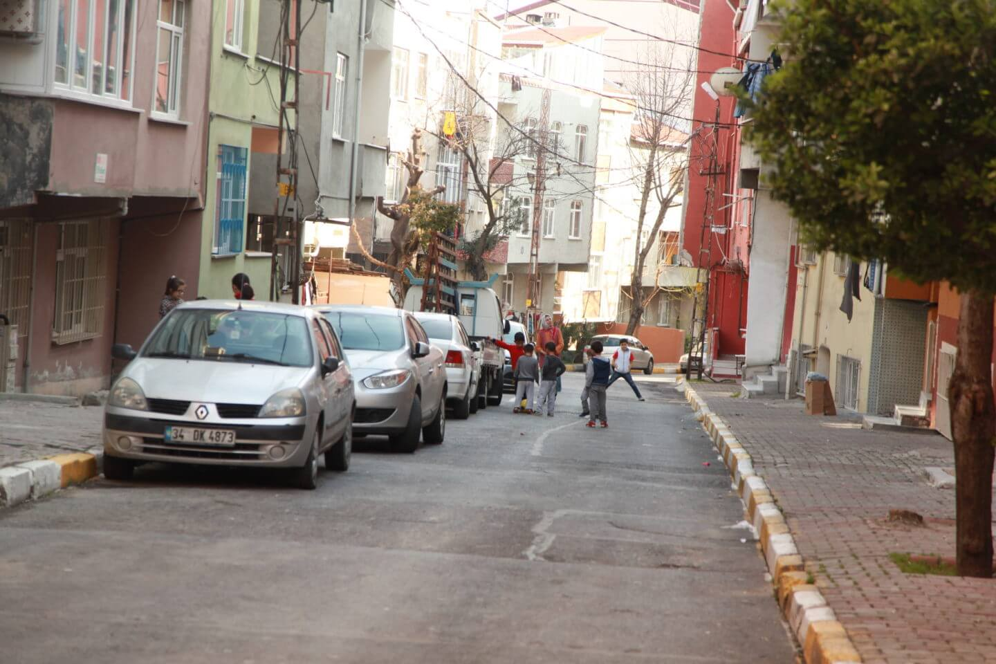 Children playing in area called 'Little Syria' in Istanbul