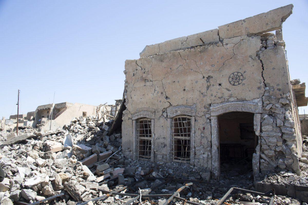 Batnaya Christian village, which is destroyed and deserted apart from Peshmerga.