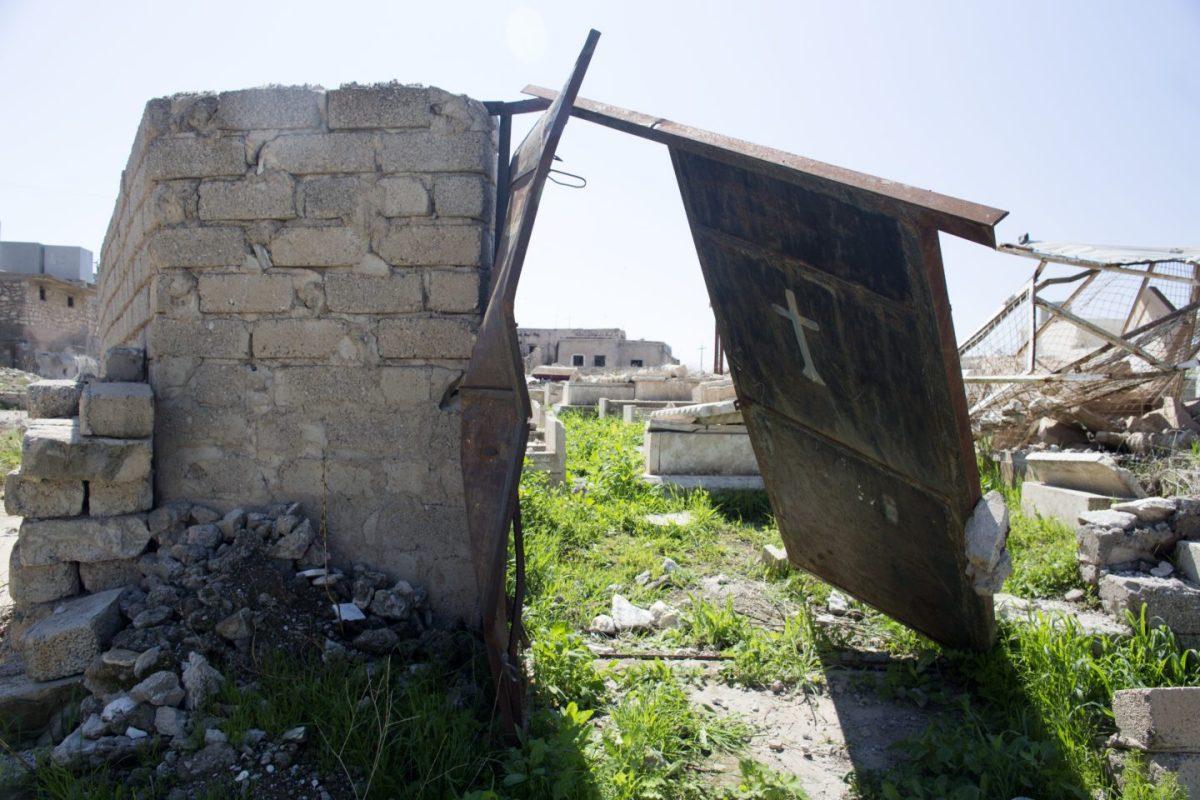 Door with a white cross, Batnaya, Iraq