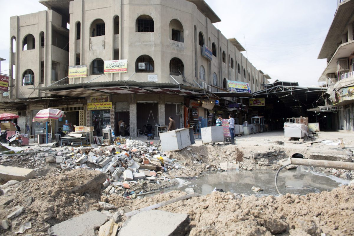 East Mosul bomb crater