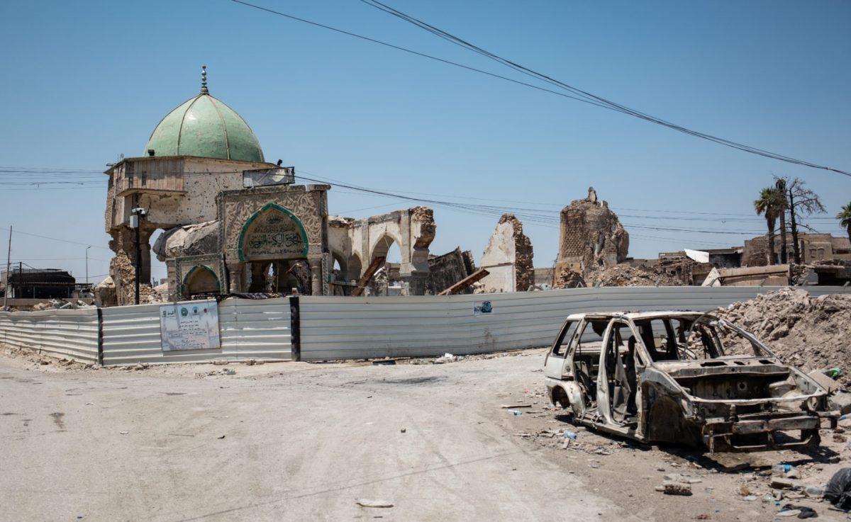 The remains of Al Nuri Mosque - two years after it was destroyed by IS group