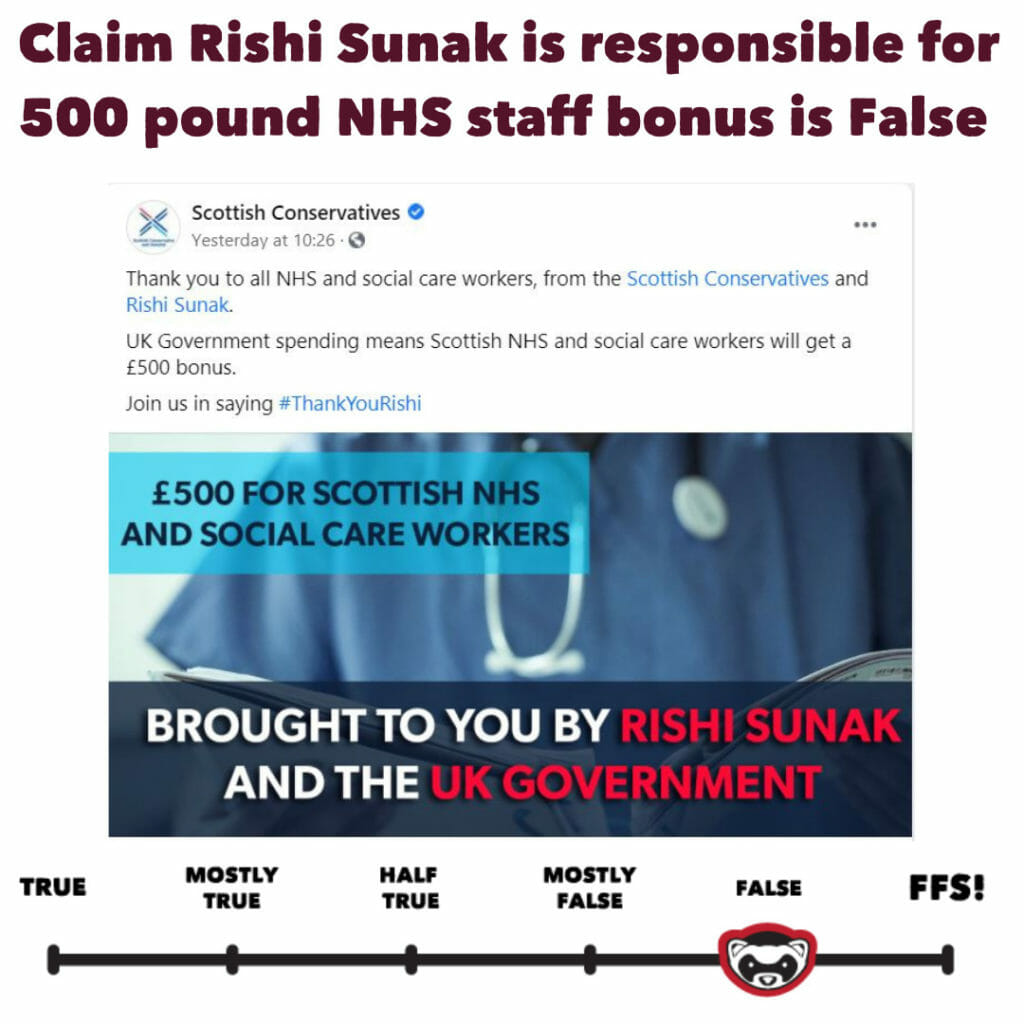 Claim Rishi Sunak is responsible for £500 NHS staff bonus is False 9