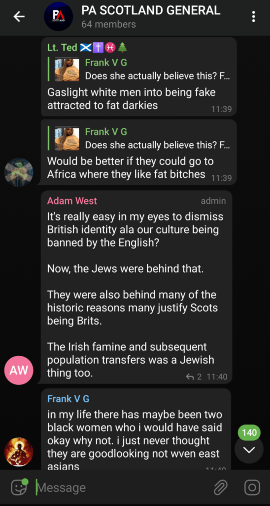 Screengrab comments about Jews from the Patriotic Alternative Telegram group