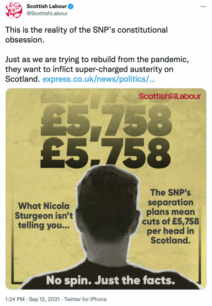 Claim that Scottish independence would mean cuts of £5,758 per head is unsupported 8